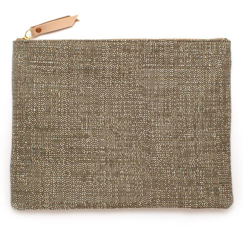 Silver & Natural Basket Laptop Sleeve/ Clutch-Large - Makers Workshop