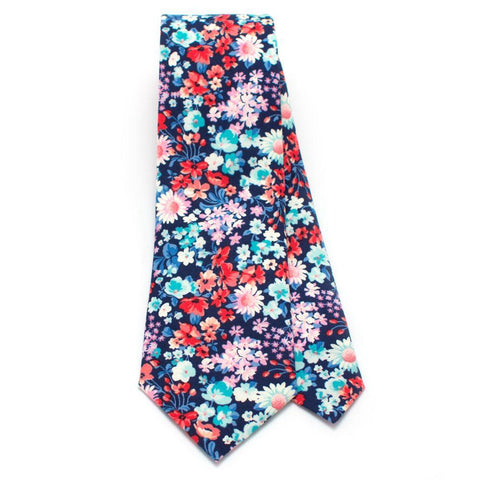 Vintage James Park Blue, Red, Pink Floral Necktie - Makers Workshop