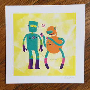 """Robot Friends"" Art Print"