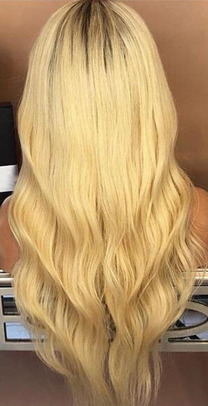 Pre Plucked Remy Lace Human Hair Front Wig 613 Golden Blonde Ash Roots - BarnKey.com