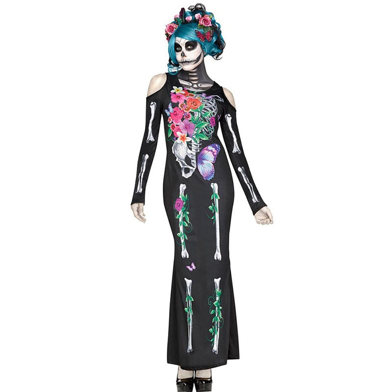 Day of the Dead Long Sleeve Skeleton Costume Plus Size - BarnKey.com