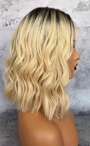 Short Bob Cut Remy Blond Frontal Human Hair Wig - BarnKey.com