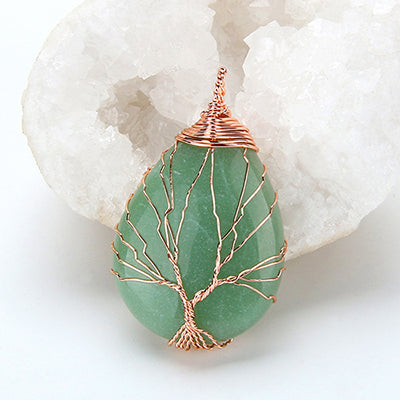 Tree of Life Opal Stone Wrapped Drop Shaped Crystal Pendant Necklace - BarnKey.com