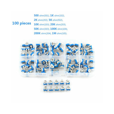 Boîte d'assortiment de résistances variables Trimpot de 10 potentiomètres de valeur RM065 100 pcs - Beewik-Shop.com