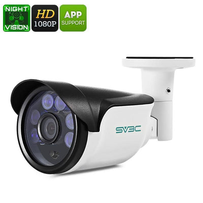 1080p Security Camera - IP66 Waterproof, Motion Detection, PoE, 20m Night Vision, App Support, 1/3 Inch CMOS