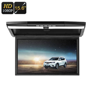 15.6-Inch Roof Monitor - 2x Speaker, 32GB SD Card Slot, 32GB USB Port, 1080p FHD, Remote Control, FM Transmitter