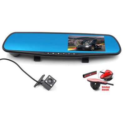 Car Rear View Camera Kit - DVR Monitor, 3 Cameras, Side View, Night Vision, 650mAh Battery, G-Sensor - Beewik-Shop.com
