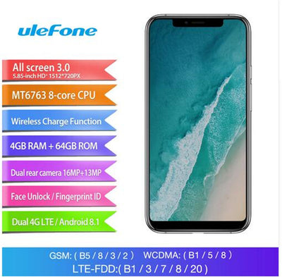 Ulefone X Android Phone - Octa-Core CPU, Android 8.1, 4GB RAM, Dual-IMEI,, 5.85-Inch FHD Display - Beewik-Shop.com