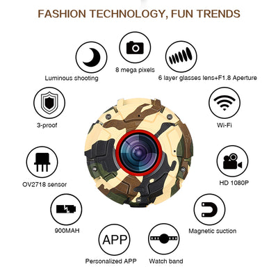 Wearable and Detachable Smart Sports Camera - 1080P, APP, Wifi, Magnetic Base, Waterproof, Car DVR, Hunting Camera (Green) - Beewik-Shop.com