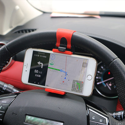 Universal Car Steering Wheel Clip Mount Holder for iPhone 8 7 7Plus 6 6s Samsung Xiaomi Huawei Mobile Phone GPS - Beewik-Shop.com