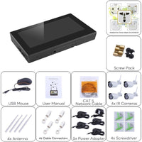 4 Channel NVR Kit - Linux OS, 4x HD Camera, 10-Inch Display, Nightvision, WiFi Support, SATA Hard Disk, 4TB Storage Capacity