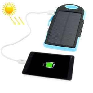 5000mAh Waterproof / Shockproof / Dropproof Emergency Power Solar Charger for iPhone / Samsung Galaxy / Sony / HTC / LG(Blue)