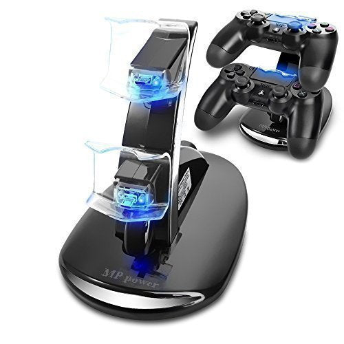 MP power @ Dual Docking Station für Sony Playstation 4-Controller in Schwarz mit LED-Licht - Beewik-Shop.com