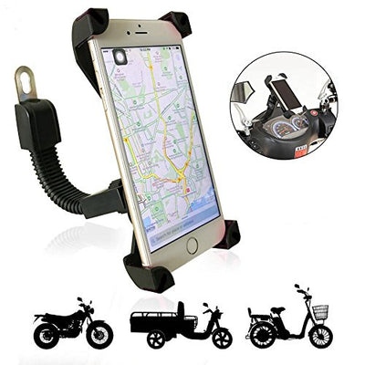 Support Telephone Moto TTMOW Universel Ajustable Support Téléphone scooter Anti-vibrations Rotation de 360 Degrés Installé sur le Rétroviseur pour Smartphone GPS et Autres appareils (Noir)