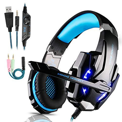 Micro Casque Gaming PS4, Casque Gamer Stéréo Lumière Stéréo Bass Anti-Bruit LED lumière avec 3.5mm Jack Compatible PS4/ Xbox One/PC/Mac/Nintendo Switch/Ordinateur/Tablette/Laptop/Smartephone