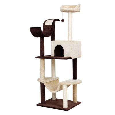 Finether 5-Tiers de l'Arbre à Chat 154 cm Arbre à Chat Composé de Griffoir, Niches à Chatons, avec Colonne à Gratter, Hamac, Perches et Plate-Forme, Capacité 3 Chats - Beewik-Shop.com