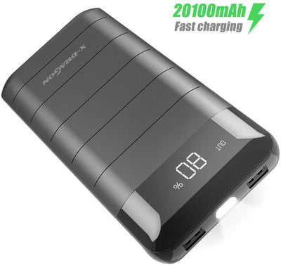 Power Bank X-DRAGON 20100mAh Chargeur Portable avec Batterie Externe LCD Display pour iPhone X 8 7 Plus, iPad, Samsung, Huawei, Smartphone