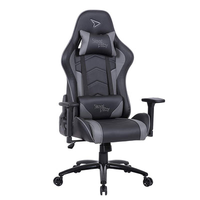 Fauteuil Gaming Steelplay SGC01 Gris - Siège bureau racing gamer pro chaise sport ajustable dossier réglable et inclinable 90-175° accoudoirs réglables support lombaire ergonomique ordinateur - Beewik-Shop.com