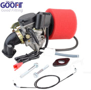GOOFIT Carburateur Filtre À Air Collecteurs d'échappement D'admission Manifold Throttle Câble pour GY6 49cc 50cc Scooter Aller Karts Cyclomoteurs pd18 Scooter Moped Taotao Kymco - Beewik-Shop.com