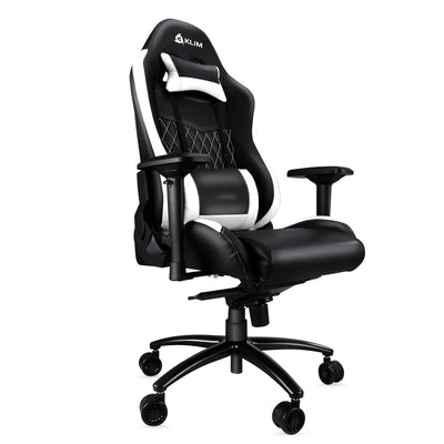 KLIM Esports - Chaise Gamer Très Haute Qualité - Finitions Soignées - Ajustable - Ergonomique - Inclinable - Confortable - Siege Bureau - Coussins Noir & Blanc [ Nouvelle Version 2019 ] - Beewik-Shop.com