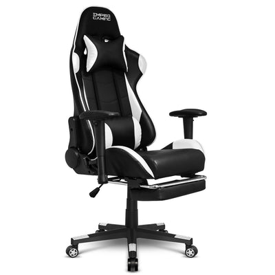 EMPIRE GAMING – Chaise Gamer Racing 800 Series Blanc et Noir Ergonomique et inclinable - Accoudoirs 2D réglables - Repose-Pieds intégré - Coussins lombaires et Nuque Inclus