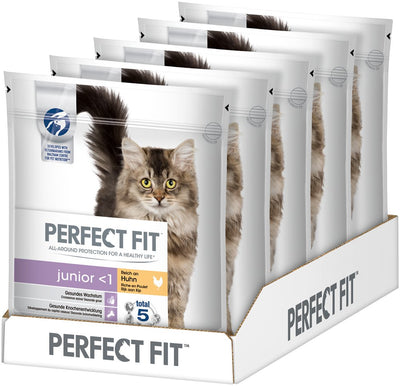 PERFECT FIT JUNIOR - Croquettes au poulet pour chaton 750g - lot de 5 (3,75kg) - Beewik-Shop.com