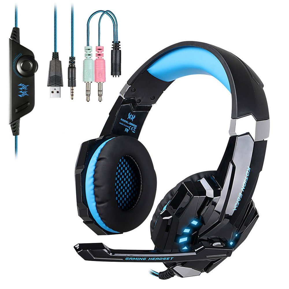 EasySMX Micro Headset PS4 Gaming, Stereo Bass Audio Headset con luce LED, Noise Cancelling Gaming Headset, Comodo Gaming Headset Compatibile per PS4 / PC / Laptop / Tablet / Smartphone (Nero + Blu) - Beewik-Shop.com