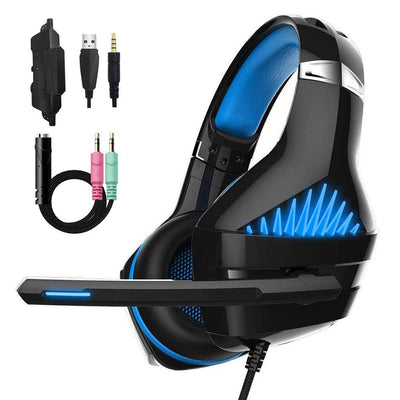 Casque de Jeu pour PS4, Laxus Confort Réduction du Bruit Clarté cristalline 3.5 mm LED Casque de Jeu Professionnel avec Microphone pour Ordinateur Portable PC Tablette Mac Smart Phone 4 (Blue) - Beewik-Shop.com