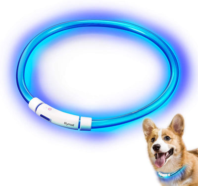 LED Collier pour Chiens/Chat, USB Rechargeable sécurité Visibles à 500m étanche Light up Flashing réglable, Bleu - Beewik-Shop.com