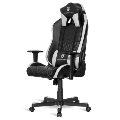 EMPIRE GAMING – Chaise Gamer Mamba Blanc et Noir inclinable - Ergonomique et Confortable - Réglable en Hauteur - Accoudoirs 3D réglables - Coussins lombaires et Nuque Inclus