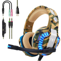 Beexcellent PS4 Gaming Headset, professionelles Gaming Headset Stereo Audio mit 3.5 mm Rauschunterdrückung Mikrofon Komfortabler Jack Over Ear mit LED-Licht für Xbox One PC Laptop Tablet - Beewik-Shop.com