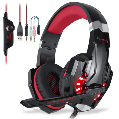EasySMX Micro Casque PS4 Gaming, Casque Audio Stéréo Basse avec LED lumière, Casque Gaming bien Anti-Bruit, Casque Gamer Confortable Compatible pour PS4/PC/ Laptop/Tablette/ Smartphone (Noir+Rouge)