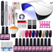 Saint-Acior 10pc Vernis Semi Permanent 36w UV/LED Lampe Pour Sécher Vernis A Ongle Soak Off UV Gel Base Top Coat Brosse Strass Décor Nail Outils Nail Art Kit Manucure# G10C - Beewik-Shop.com