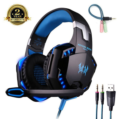 Gaming Headset für PC, PS4 Gaming Headset mit Mikrofon [LED-Licht] Stereo-Geräuschunterdrückung Gaming Headset für PS4 PC, Laptop, Tablet und alle Smartphones