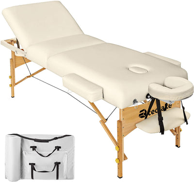 TecTake Table Lit de Massage Pliante Portable - diverses couleurs au choix (Beige) - Beewik-Shop.com