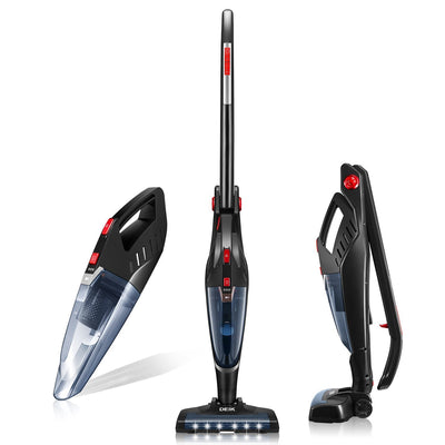 Deik Aspirateur sans fil, pratique 2 en 1 Aspirateur Aspirateur à Main (sans sac, batterie lithium 2200 mAh Power 22,2 V, brosse électrique accessoires inclus), noir [Classe énergétique A] - Beewik-Shop.com