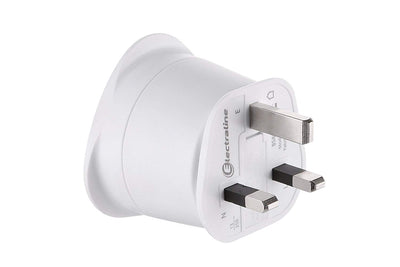 Electraline 70053 Adaptateur de voyage France/Europe vers UK 2 Broches Europe vers 3 Broches Uk, White - Beewik-Shop.com
