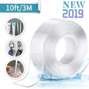 Jeteven Nano Tape, Ruban adhésif Double Face Multifonctionnel Nano Antidérapant Transparent Traceless Double-Face Gel Clear Tape Lavable Réutilisable Ruban Adhésif pour Maison 2MM*3CM*3M - Beewik-Shop.com