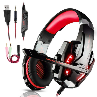 Igrome Micro Casque Gaming PS4, Casque Gamer Stéréo Lumière Stéréo Bass Anti-Bruit LED lumière avec 3.5mm Jack Compatible PS4/ Xbox One/PC/Mac/Nintendo Switch/Ordinateur/Tablette/Laptop/Smartephone - Beewik-Shop.com