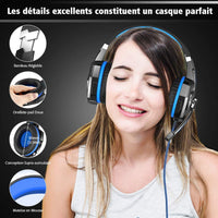 VersionTECH. Casque Gaming Filaire pour PS4 Xbox One PC avec Microphone Anti-Bruit, Contrôleur de Volume, Son Surround, Les Lumières LED pour Ordinateur Portable, Nintendo Switch, Macbook - Bleu - Beewik-Shop.com