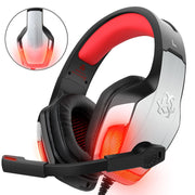 Gaming Headset pour PS4 Xbox One PC Controller, DIZA100 V4 Gaming Gaming avec Aluminiumgehäuse, Mikrofon, LED Light Bass Surround pour ordinateur portable Mac Nintendo Switch Spiele Rot - Beewik-Shop.com