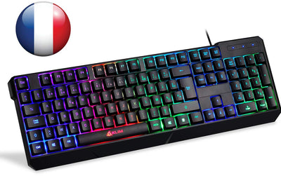 ⭐️KLIM Chroma Clavier Gamers AZERTY FRANÇAIS Filaire USB - Haute Performance - Clavier Éclairé Chromatique Gaming Noir RGB PC Windows, Mac PS4 [ Nouvelle Version ] - Beewik-Shop.com