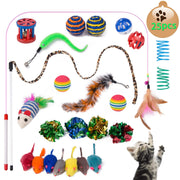 Yangbaga Jouet Chat lot - Jouer Chat - Souris Sisal, Boule Plume, Canne a Peche Inclus, Kitten Toys Variété Pack Chaton Chat (25pc) - Beewik-Shop.com