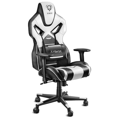 Diablo X-Fighter Gaming Chaise accoudoirs réglables 3D Coussin Lombaire mécanisme d'inclinaison Cuir Artificiel perforé (Noir/Blanc), Plastique
