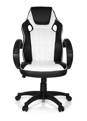 MyBuero chaise gaming, fauteuil gamer GAMING ZONE PRO 100 simili cuir noir/blanc, avec accoudoirs, dossier haut - Beewik-Shop.com