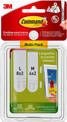 Command Pack de 12 Languettes Repositionnables : 8 larges, 4 moyennes - Beewik-Shop.com