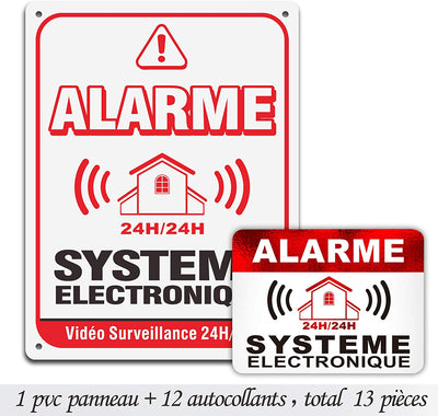 Autocollants dissuasifs Alarme / Stickers Alarme de sécurité maison en Surveillance Electronique 8x6cm Lot DE 12