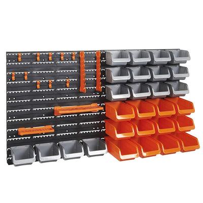 VonHaus 44 Piece Wall Mounted Pegboard Hook, Storage Bins and Panel Set - DIY Garage Storage Wall Mount System with Rack and Bin Accessories - Tool, Parts and Craft Organizer - Beewik-Shop.com