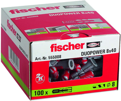 Fischer 555008 Duopower Lot de 100 chevilles 8 x 40 mm - Beewik-Shop.com
