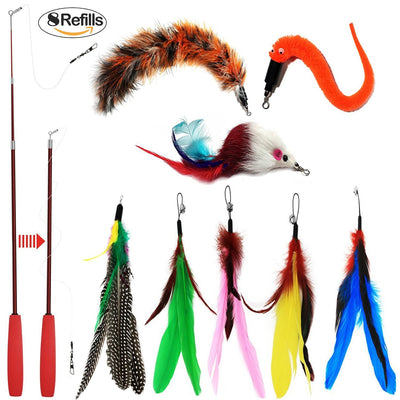 OneBarleycorn – Cat Wand Feather Toys Rétractable Interactive Cat Tease Toys avec 8 Recharges Plumes Oiseaux vers Mouse pour Chat Chaton - Beewik-Shop.com
